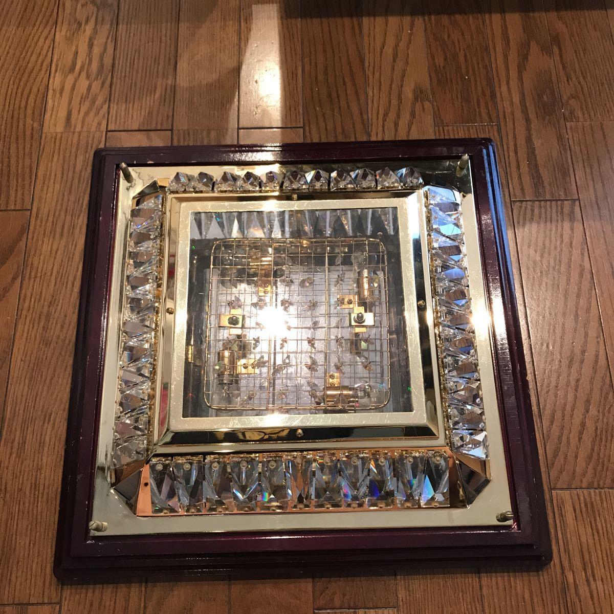 売り切り 木枠付き ゴールドキング 45cm角 豪華 シャンデリア デコトラ レトロ 当時物_画像5