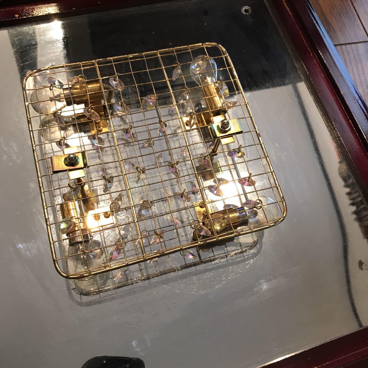 売り切り 木枠付き ゴールドキング 45cm角 豪華 シャンデリア デコトラ レトロ 当時物_画像6
