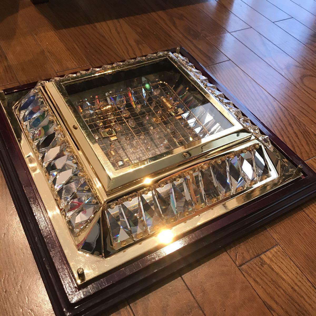 売り切り 木枠付き ゴールドキング 45cm角 豪華 シャンデリア デコトラ レトロ 当時物