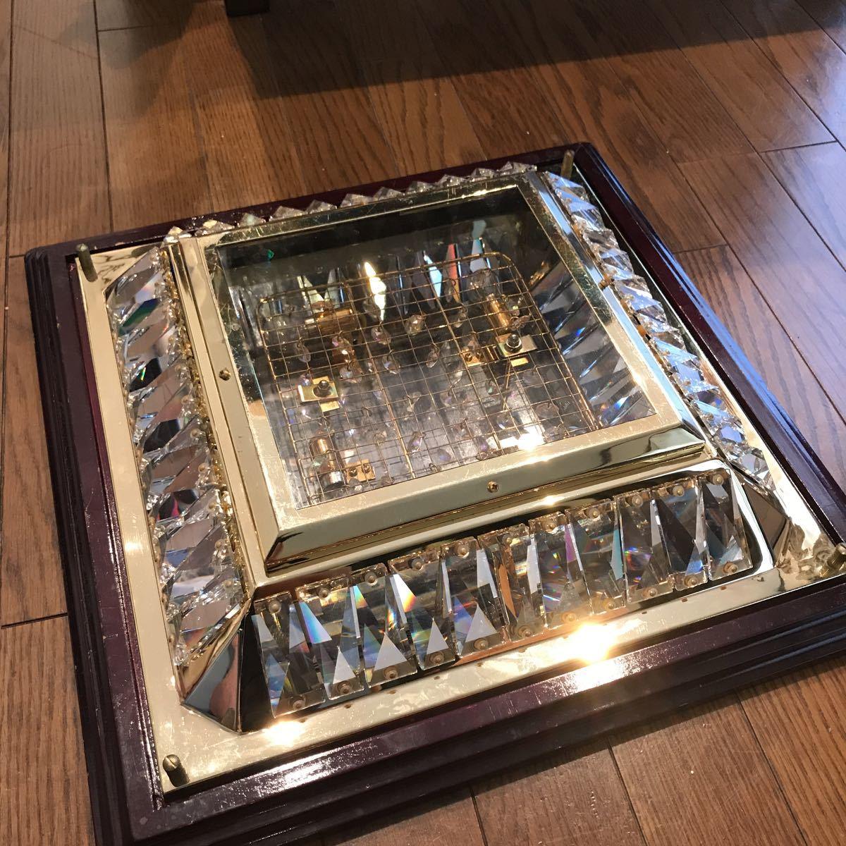 売り切り 木枠付き ゴールドキング 45cm角 豪華 シャンデリア デコトラ レトロ 当時物_画像9