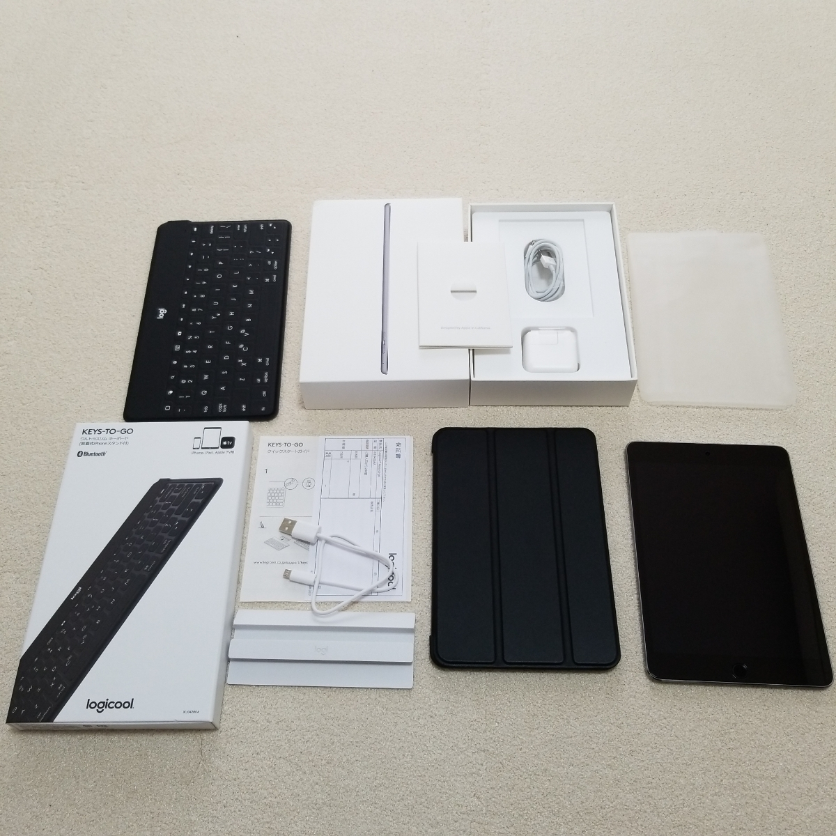 超美品 2018年末購入 ipad mini 本体  128GB A1538 wi-fiモデル Bluetooth ロジクール キーボード ケースおまけ付