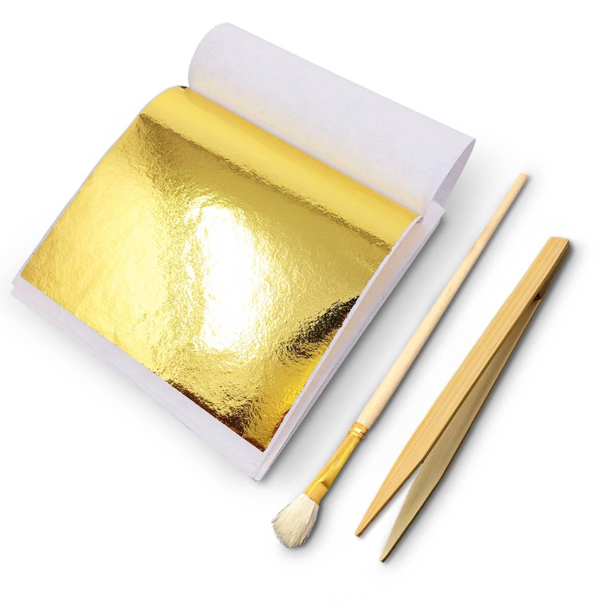 【即決】金箔 GOLD フェイク ゴールド 金色 美術 工芸 デコレーション 【 金ぱく 約100枚、竹ばし、刷毛セット 】