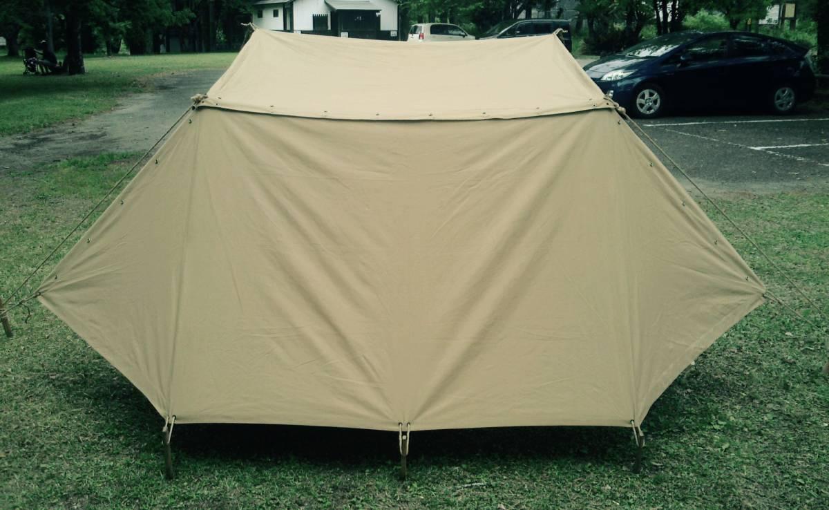 Vtg French army pup tent shelter half フランス 軍 パップ テント シェルターハーフ 軍幕 ブッシュクラフト bushcraft_画像2
