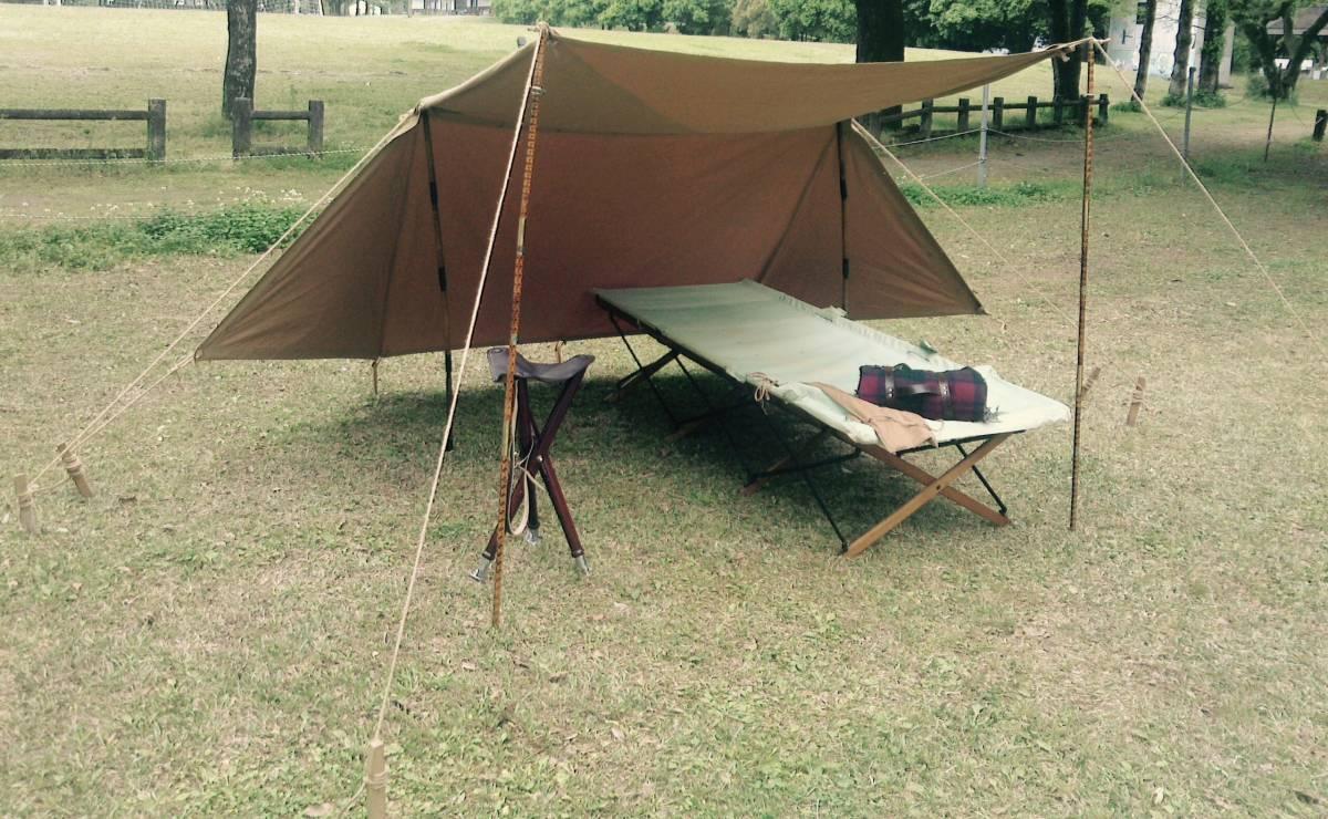 Vtg French army pup tent shelter half フランス 軍 パップ テント シェルターハーフ 軍幕 ブッシュクラフト bushcraft_画像3