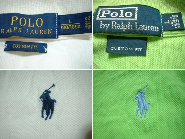 超お得2着セットRalph Laurenワンポイント鹿の子ポロシャツL正規ラルフローレン白ホワイト&緑グリーンPOLO_画像3