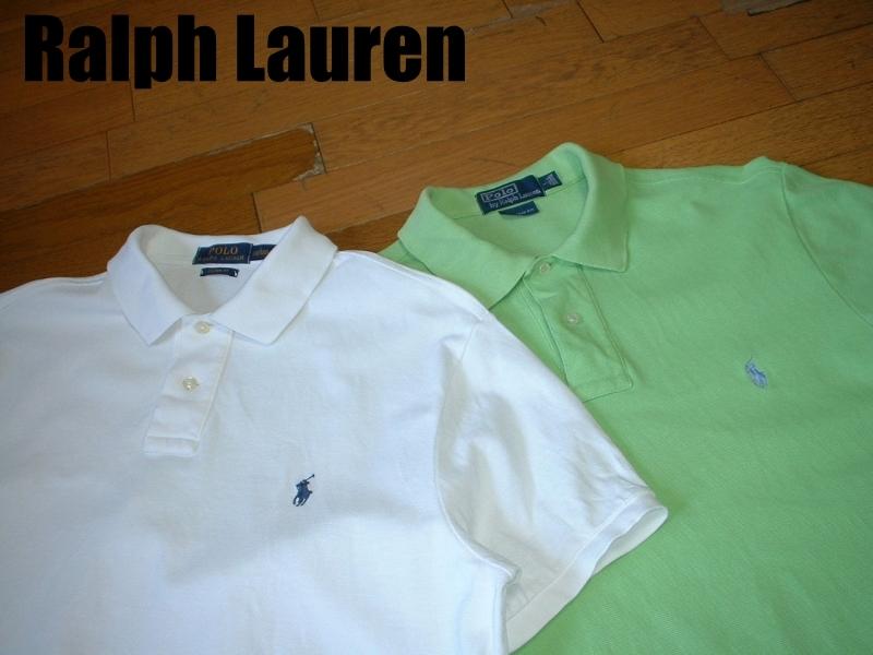 超お得2着セットRalph Laurenワンポイント鹿の子ポロシャツL正規ラルフローレン白ホワイト&緑グリーンPOLO
