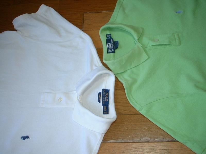 超お得2着セットRalph Laurenワンポイント鹿の子ポロシャツL正規ラルフローレン白ホワイト&緑グリーンPOLO_画像6