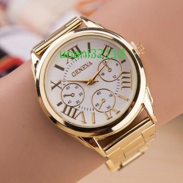 【破格の1円スタート!】 ジュネーブ カジュアルクォーツ腕時計 女性 ステンレス鋼 ドレスウォッチ 1977_画像1