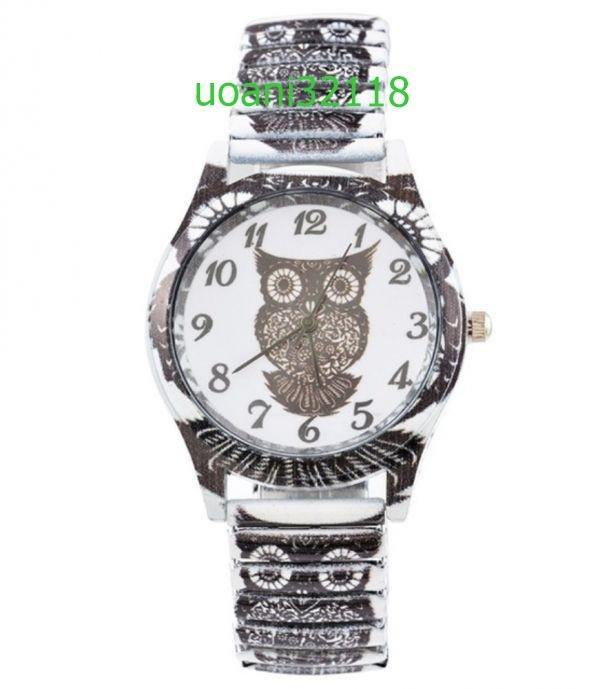 【破格の1円スタート!】フクロウクォーツ黒腕時計女性 スポーツ腕時計 ドレスブレスレットウォッチ腕時計 2015_画像1