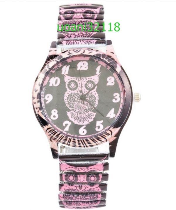 【破格の1円スタート!】フクロウクォーツ黒腕時計女性 スポーツ腕時計 ドレスブレスレットウォッチ腕時計 2015_画像2