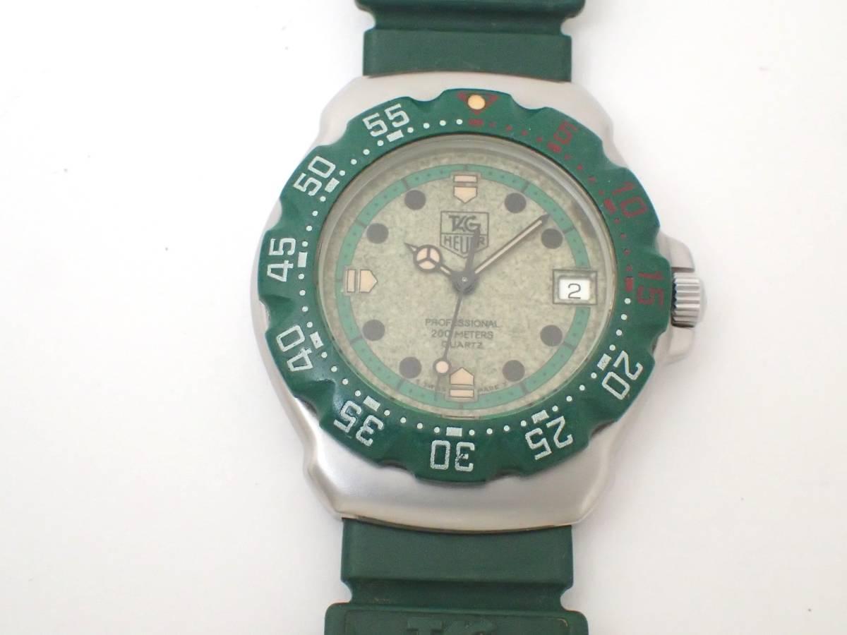 TAG HEUERタグホイヤー/WA1212/フォーミュラ/プロフェッショナル200m/ボーイズ/腕時計/純正ベルト/グリーン/ジャンク[T]_画像2