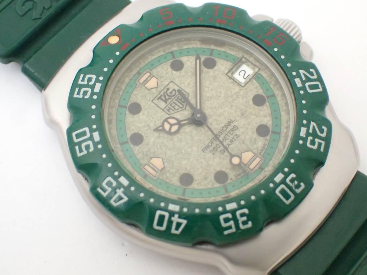 TAG HEUERタグホイヤー/WA1212/フォーミュラ/プロフェッショナル200m/ボーイズ/腕時計/純正ベルト/グリーン/ジャンク[T]_画像3