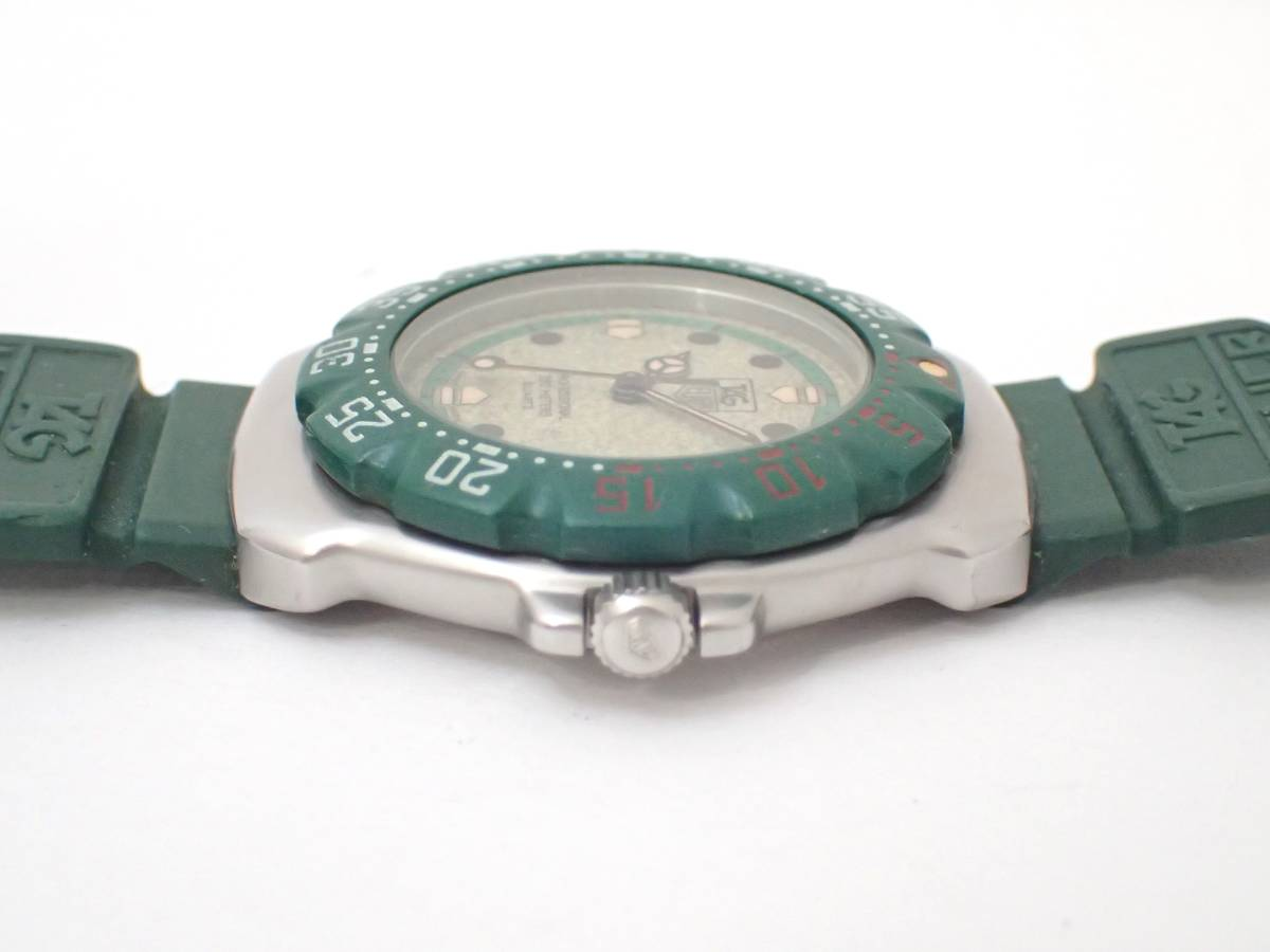 TAG HEUERタグホイヤー/WA1212/フォーミュラ/プロフェッショナル200m/ボーイズ/腕時計/純正ベルト/グリーン/ジャンク[T]_画像4