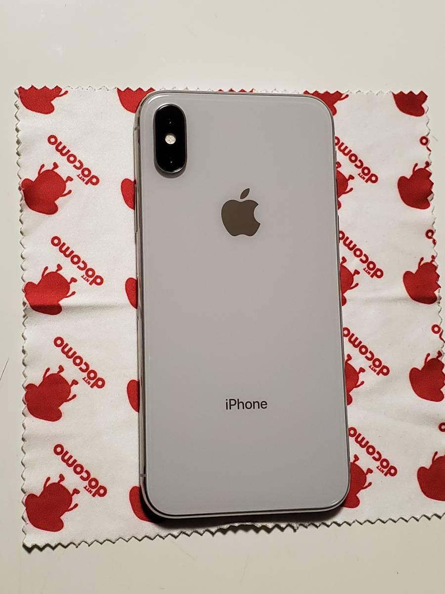 iPhone X 64GB シルバー ドコモ版 (SIMロック解除済・ガラスコーティング済・ケースおまけ) ・ 美品【値下げ】_画像4