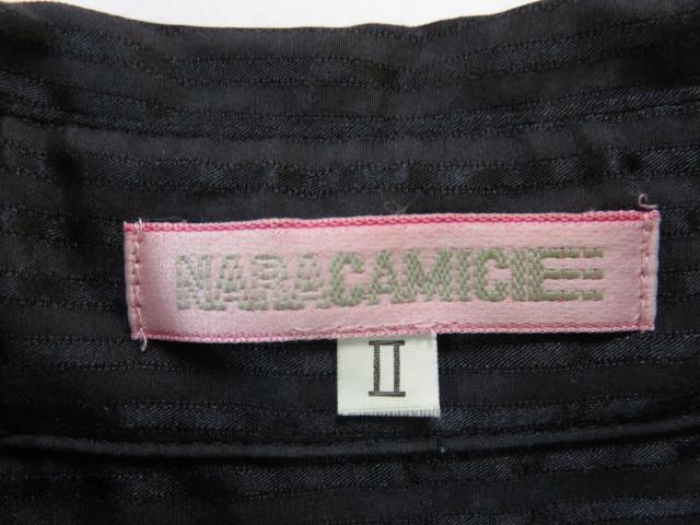 ■綺麗な上質美品【NARA CAMICIE】ナラカミーチェ高級光沢ネイビーストライプブラウス【Ⅱ】w201_画像6