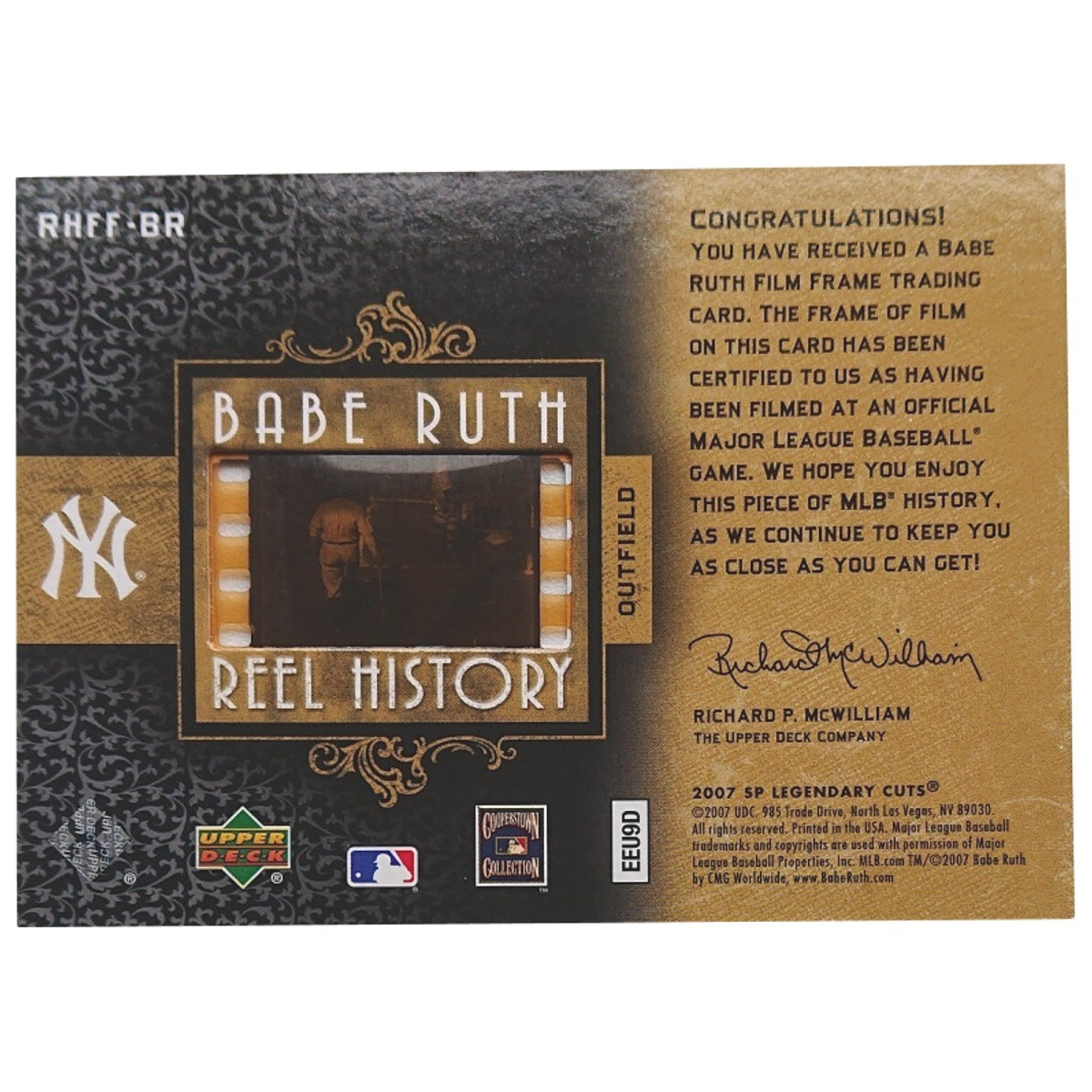 【1 of 1 Film】 Babe Ruth 2007 UD Sp Legendary Cuts Babe Ruth Reel History 1枚限定 ■検索:ベーブ・ルース フィルム カード 1/1_画像3
