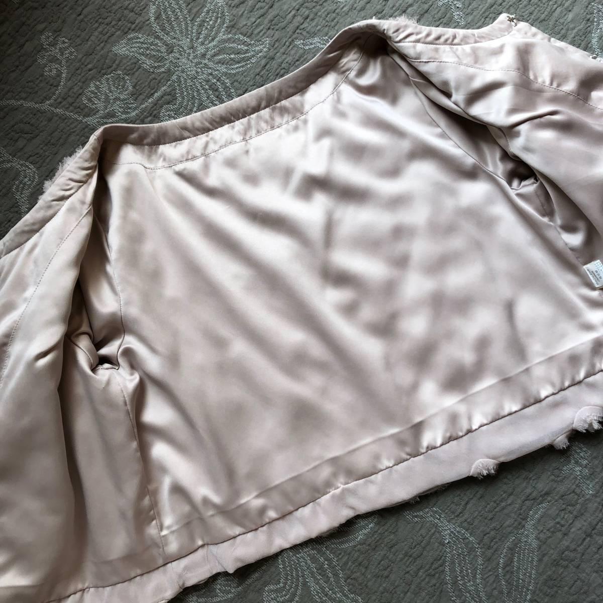 ピンクベージュ ノーカラージャケット ショート丈 S-Mの方に ローズ薔薇いっぱい *上品フェミニンお呼ばれボレロ好き 難ありリメイク素材_画像7