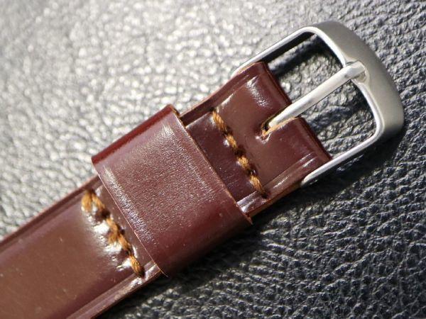 【18.0㎜ ワインレッド】 デッドストック 1950'S 「CHIC」 シェルコードバン 馬革 レザー アンティーク ビンテージ 腕時計 ベルト バンド_画像3