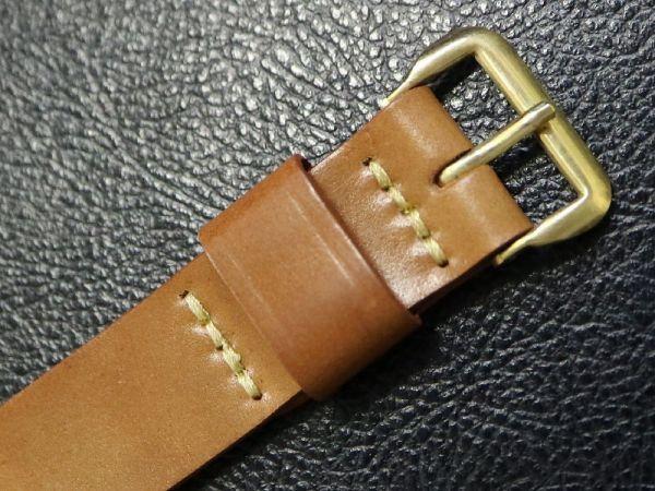 【16.5㎜ 茶】 デッドストック 1950'S 「CHIC」 シェルコードバン 馬革 レザー アンティーク ビンテージ 腕時計 ベルト バンド_画像4