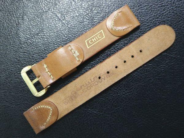 【16.5㎜ 茶】 デッドストック 1950'S 「CHIC」 シェルコードバン 馬革 レザー アンティーク ビンテージ 腕時計 ベルト バンド_画像3