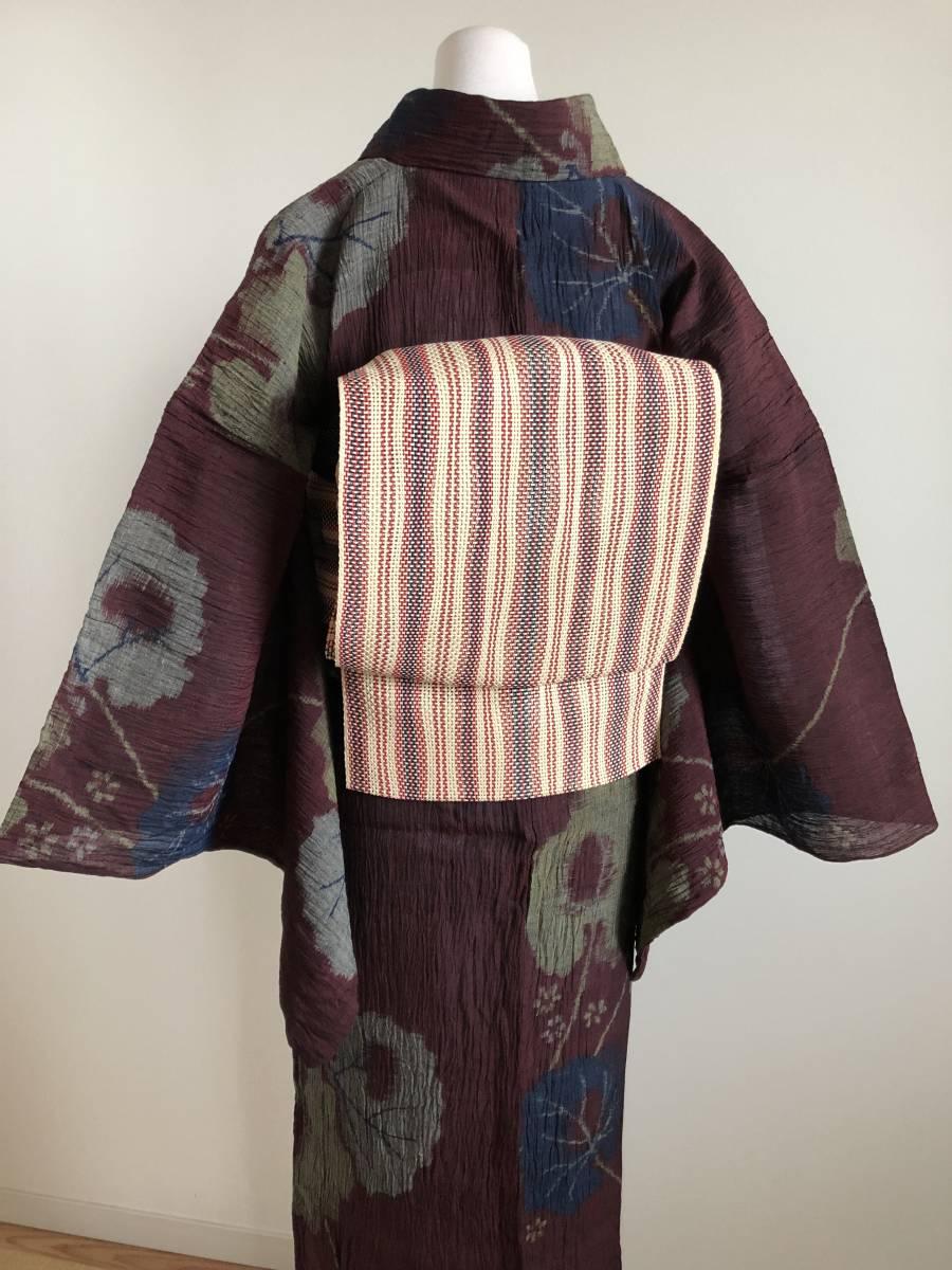 おべべとにゃんこ*単衣 麻 アンティーク 赤紫 葉柄 152 68,5_画像4