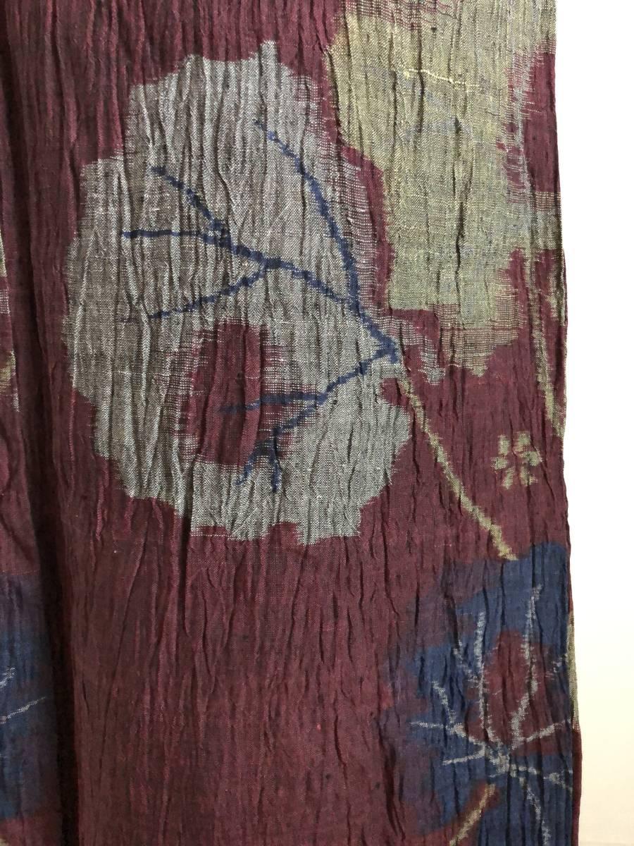 おべべとにゃんこ*単衣 麻 アンティーク 赤紫 葉柄 152 68,5_画像7