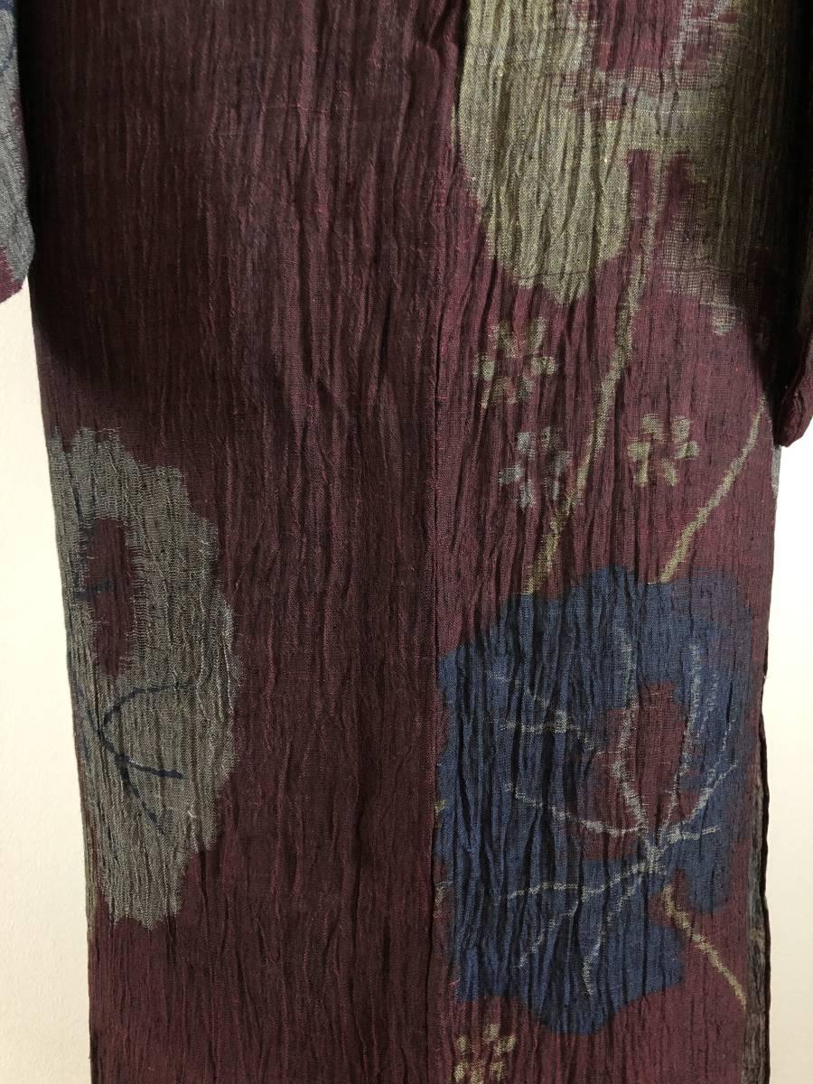 おべべとにゃんこ*単衣 麻 アンティーク 赤紫 葉柄 152 68,5_画像10