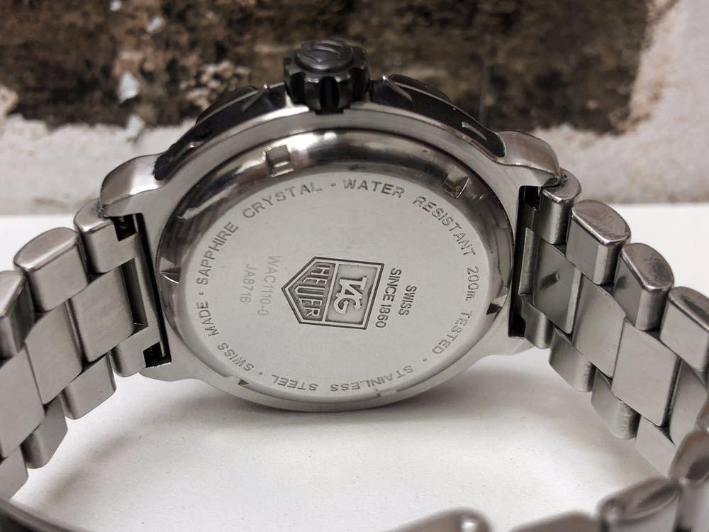 稼働品 タグホイヤー TAG HEUER クオーツ時計 フォーミュラー1 ブラック WAC1110-0 余りコマ 純正箱 革ベルト付 消費税加算なし_画像7