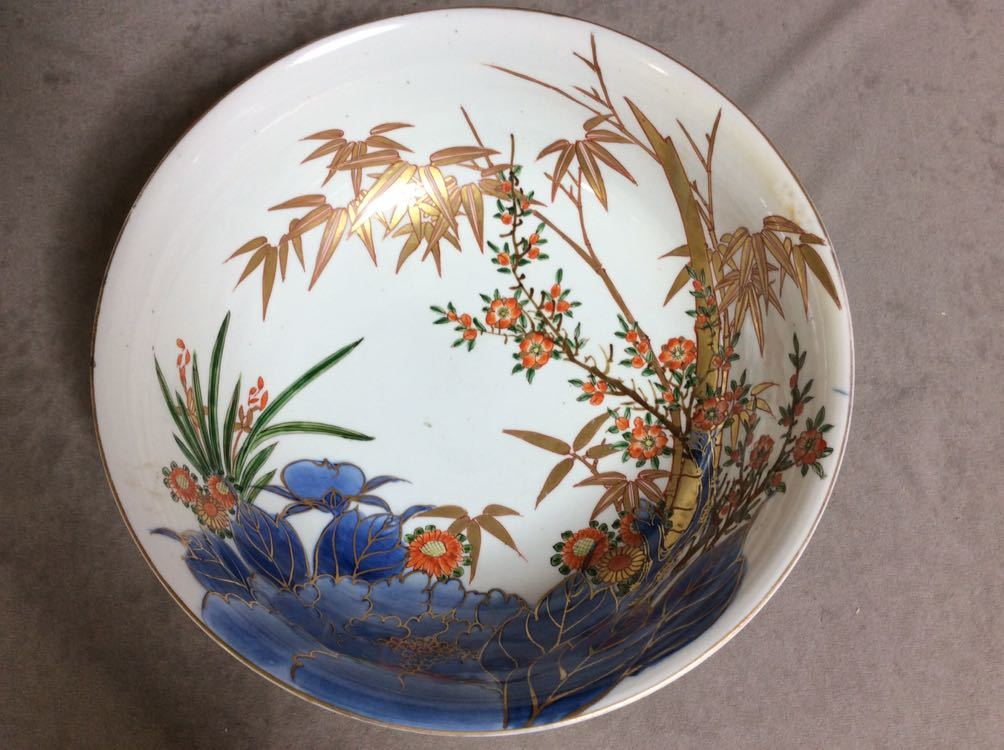 QM1430 古伊万里 色絵 金彩 手書き 竹と花尽くし 鉢 /裏に角富印あり 直径約27㎝_画像3