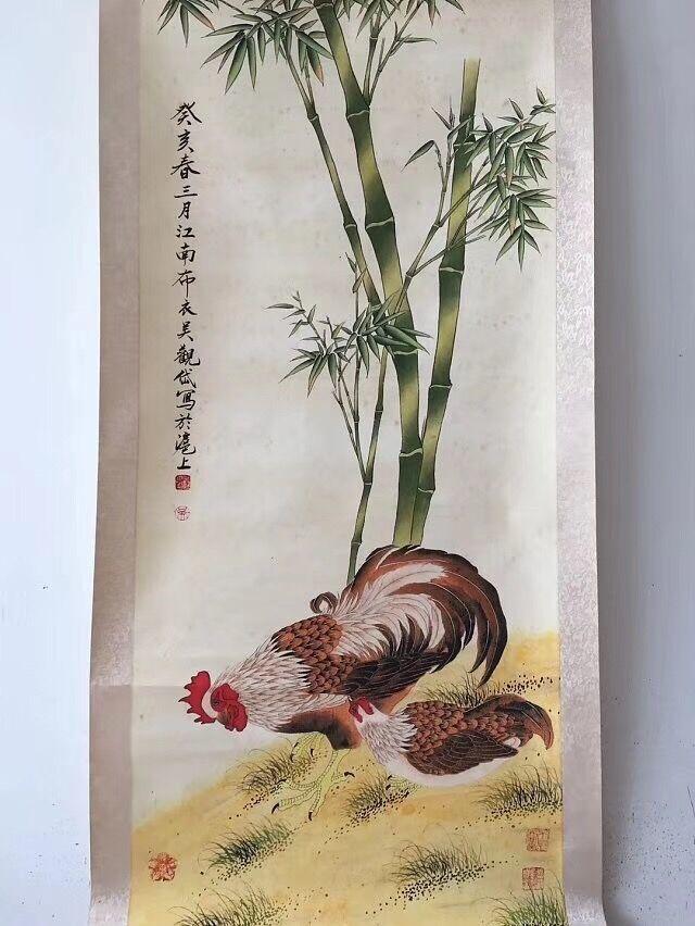 中国美術 中国清代 著名 画家 呉観岱 「鶏竹図」 掛け軸 珍品 收藏品 _画像2