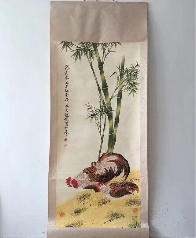 中国美術 中国清代 著名 画家 呉観岱 「鶏竹図」 掛け軸 珍品 收藏品
