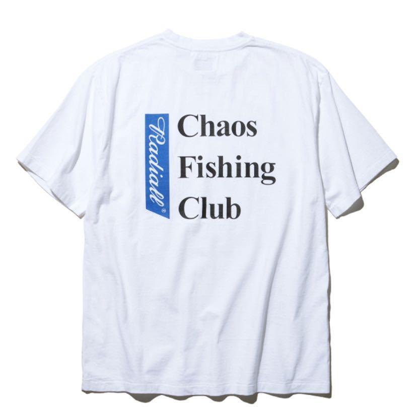 新品未使用!RADIALL × CHAOS FISHING CLUB 【L】コラボ Tシャツ ラディアル カオスフィッシングクラブ ホワイト 半袖