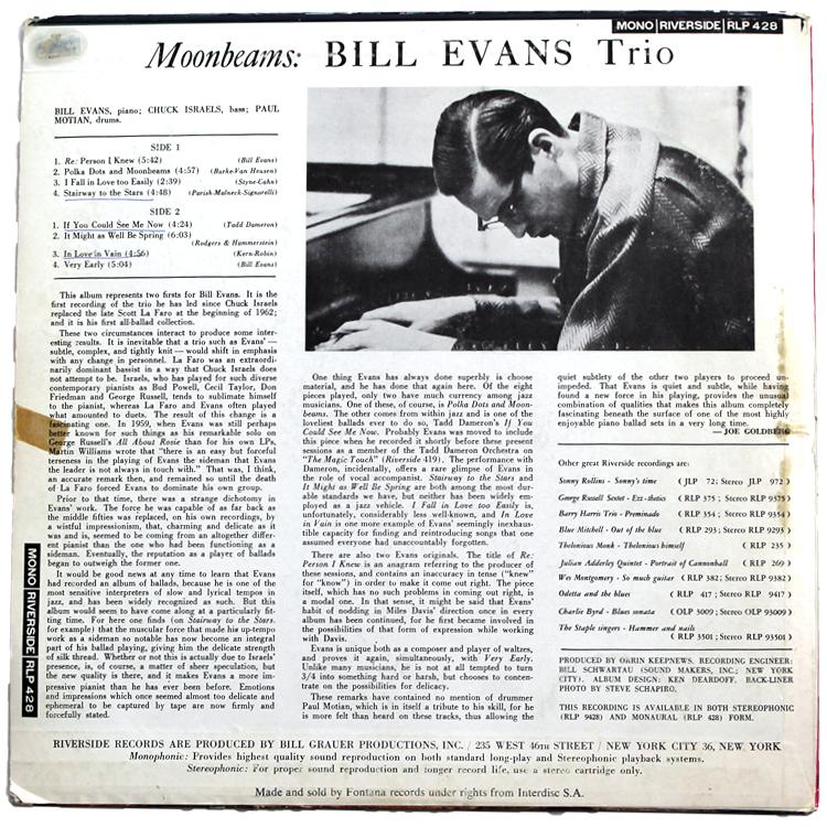 Bill Evans/Moon Beams◆オランダ オリジナル MONO RLP428 Holland コーティングジャケット 1_画像2