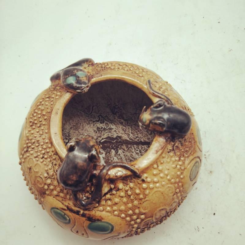 旧藏 古董品 清代嘉慶年間蛇鼠錢罐 古董古瓷器民間收藏 高9cm口徑8.5cm底徑10cm_画像4