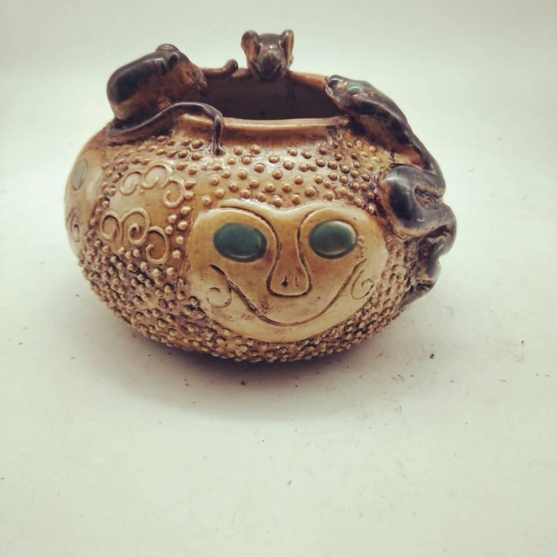 旧藏 古董品 清代嘉慶年間蛇鼠錢罐 古董古瓷器民間收藏 高9cm口徑8.5cm底徑10cm