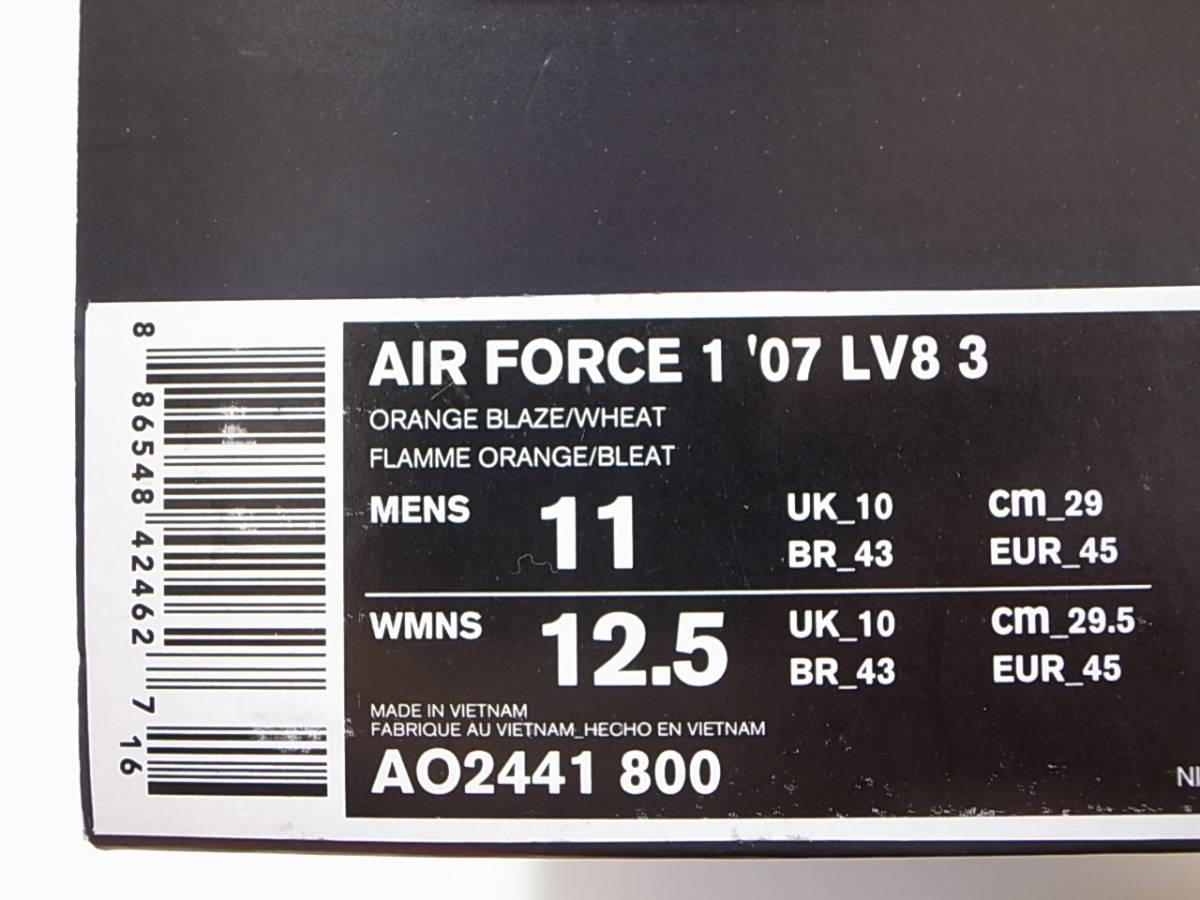 【送料無料】日本未発売 REALTREE x NIKE AIR FORCE 1 '07 LV8 3 リアルツリーAP BLAZE CAMO オレンジ 迷彩 カモ AO2441-800 US11/29cm新品_画像10