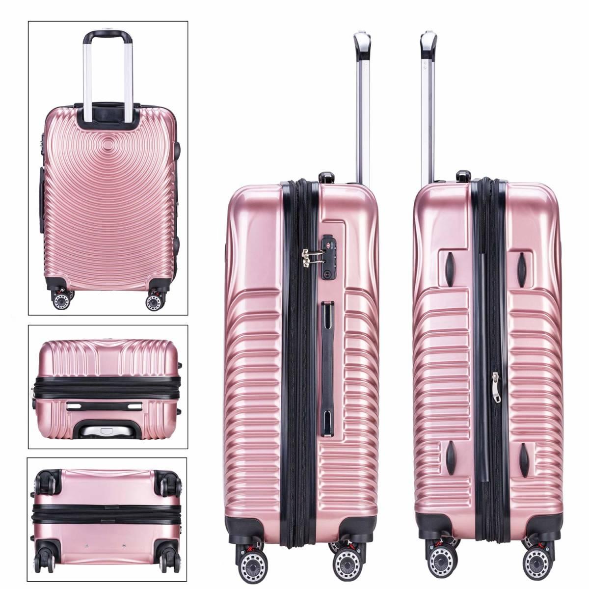 [TTOバリジェリア]TTOvaligeria スーツケース S機内持込 大型軽量 容量拡張 TSAロック搭載 静音 旅行用品 (S ローズゴールド)_画像3