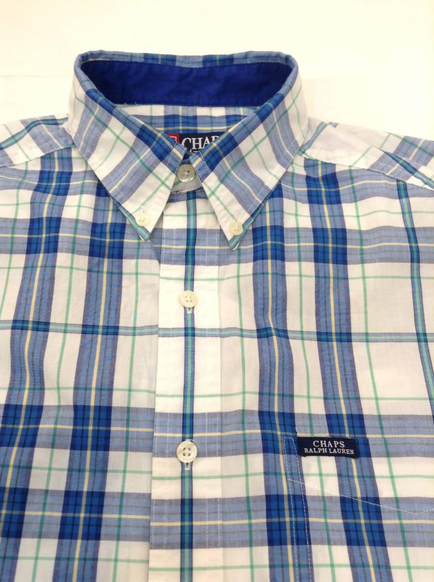 500円スタート 良品綺麗 CHAPS RalphLauren ラルフローレン コットン×ポリエステル半袖シャツ チェックシャツ メンズM 大きめ 白×青