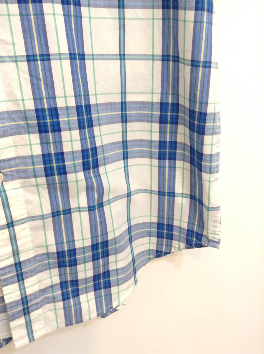 500円スタート 良品綺麗 CHAPS RalphLauren ラルフローレン コットン×ポリエステル半袖シャツ チェックシャツ メンズM 大きめ 白×青 _画像4