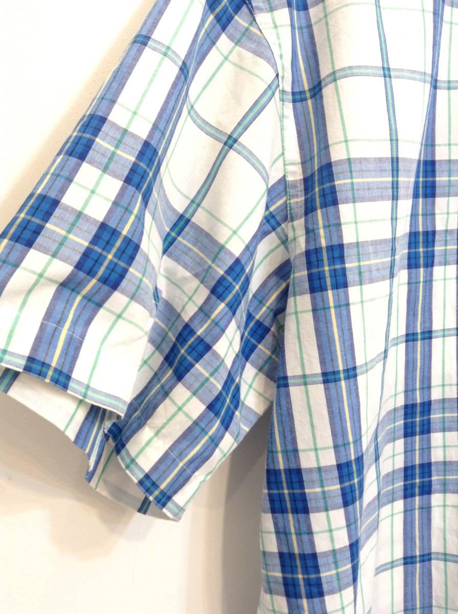 500円スタート 良品綺麗 CHAPS RalphLauren ラルフローレン コットン×ポリエステル半袖シャツ チェックシャツ メンズM 大きめ 白×青 _画像6