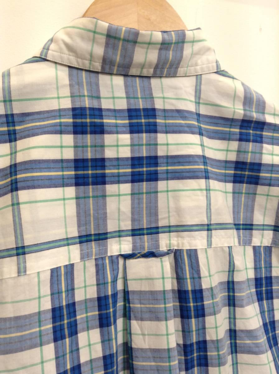 500円スタート 良品綺麗 CHAPS RalphLauren ラルフローレン コットン×ポリエステル半袖シャツ チェックシャツ メンズM 大きめ 白×青 _画像8