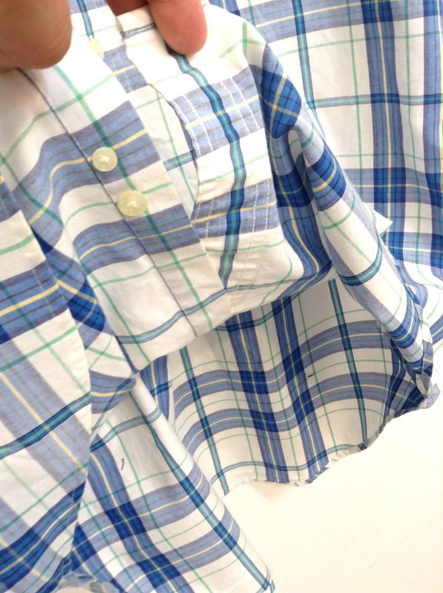 500円スタート 良品綺麗 CHAPS RalphLauren ラルフローレン コットン×ポリエステル半袖シャツ チェックシャツ メンズM 大きめ 白×青 _画像7