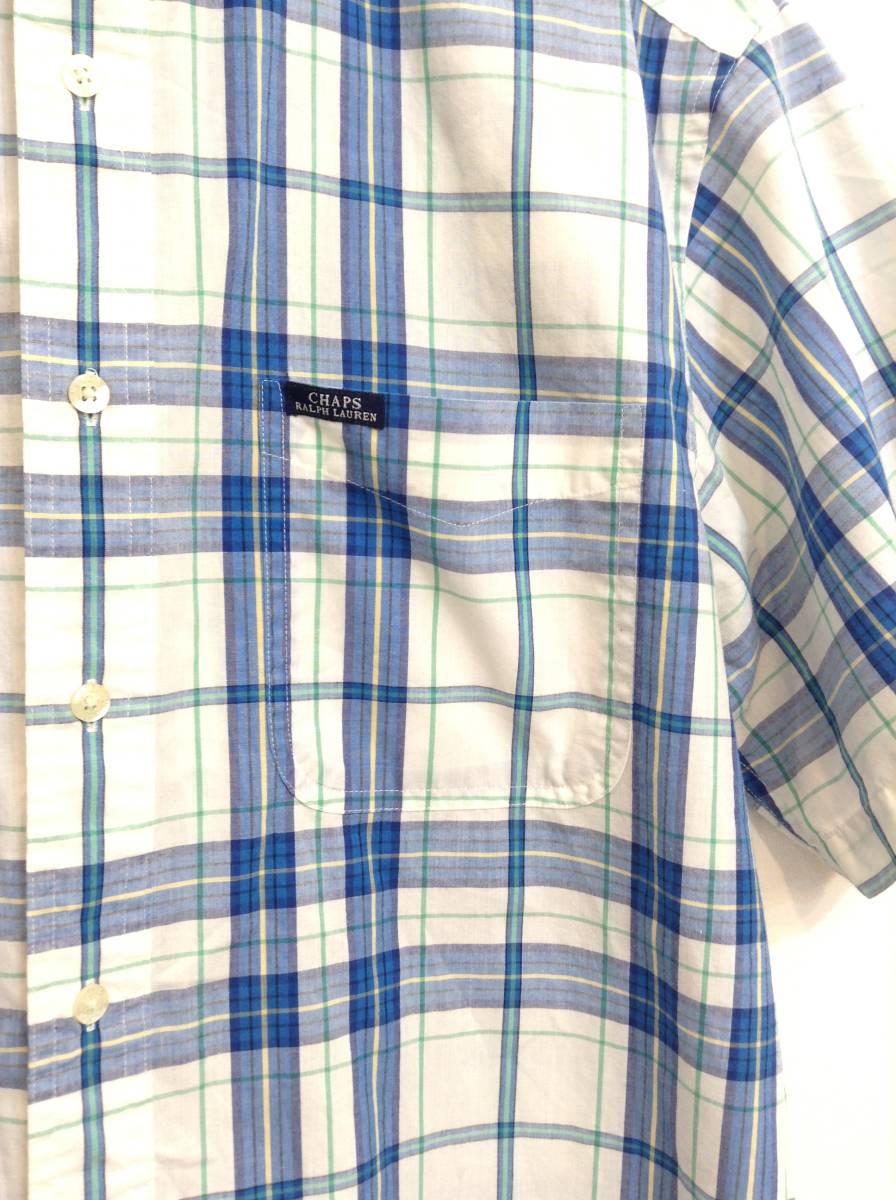 500円スタート 良品綺麗 CHAPS RalphLauren ラルフローレン コットン×ポリエステル半袖シャツ チェックシャツ メンズM 大きめ 白×青 _画像5