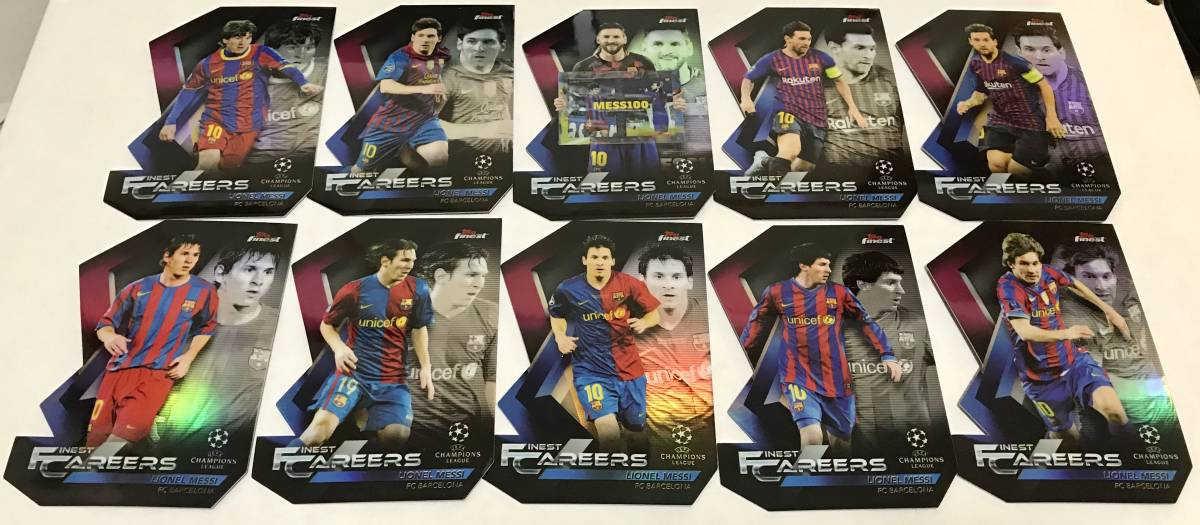 【 Lionel Messi 】2018-19 Topps Finest UEFA Champions League Finest Careers Die-Cut 全10枚 コンプリートセット!!メッシ バルセロナ