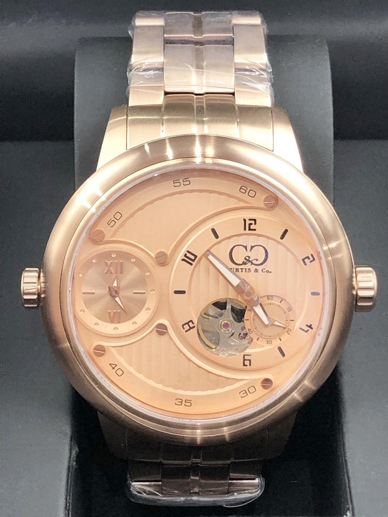稀少 新品 未使用 未開封 カーティス 自動巻き ピンクゴールド 1円 メンズ 腕時計 PG-RG 2019年モデル 正規 ビッグフェイス 裏スケ