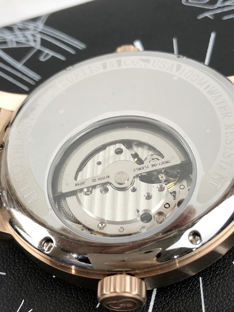 稀少 新品 未使用 未開封 カーティス 自動巻き ピンクゴールド 1円 メンズ 腕時計 PG-RG 2019年モデル 正規 ビッグフェイス 裏スケ_画像5