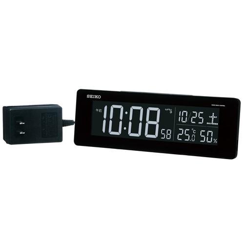 【中古・超美品】セイコークロック 置き時計 黒 目覚まし時計 電波 デジタル 選べる70色!グラデーションモード搭載 DL205K