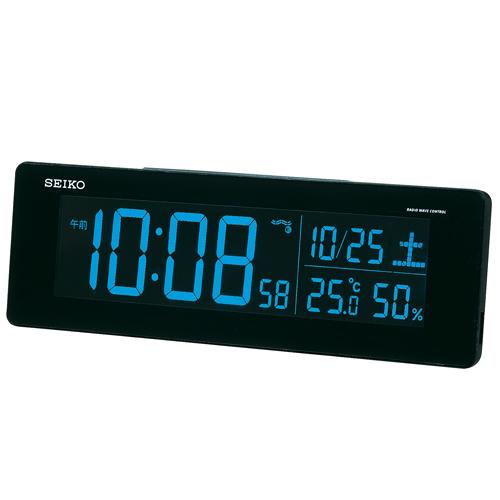 【中古・超美品】セイコークロック 置き時計 黒 目覚まし時計 電波 デジタル 選べる70色!グラデーションモード搭載 DL205K_画像2