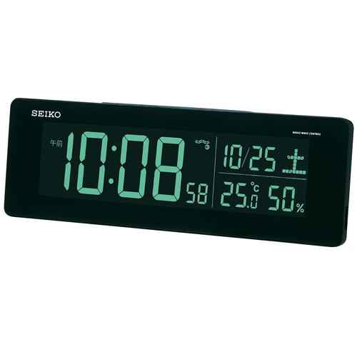 【中古・超美品】セイコークロック 置き時計 黒 目覚まし時計 電波 デジタル 選べる70色!グラデーションモード搭載 DL205K_画像3