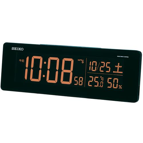 【中古・超美品】セイコークロック 置き時計 黒 目覚まし時計 電波 デジタル 選べる70色!グラデーションモード搭載 DL205K_画像4